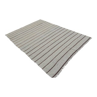Vintage Natural Stripe Turkish Cotton Rug Kilim - 5′6″ × 7′7″