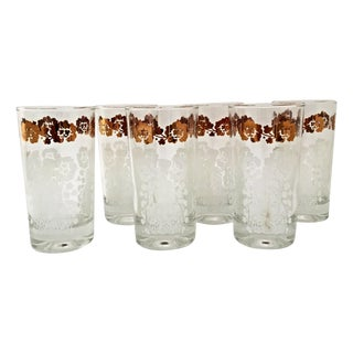 Vintage Asian Gold and White Highballs - Set of 6