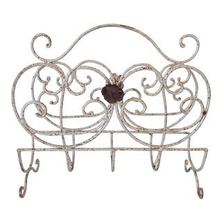 Distressed Wrought Iron Patio Magazine Rack