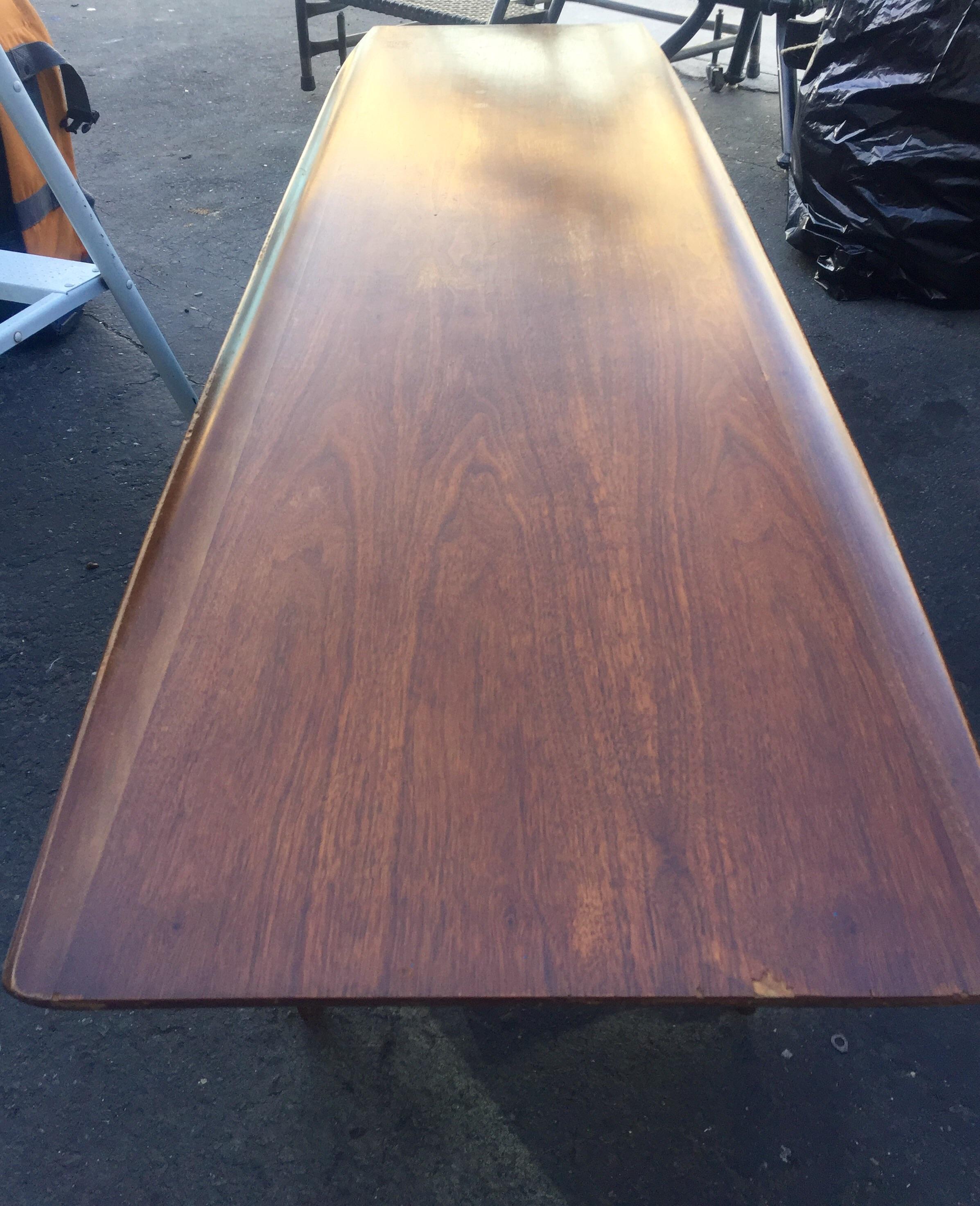 Vintage Bassett Walnut Surfboard Coffee Table   Image 3 Of 8
