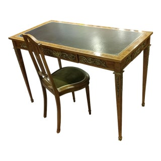 French Leather Top Desk & Matching Chair
