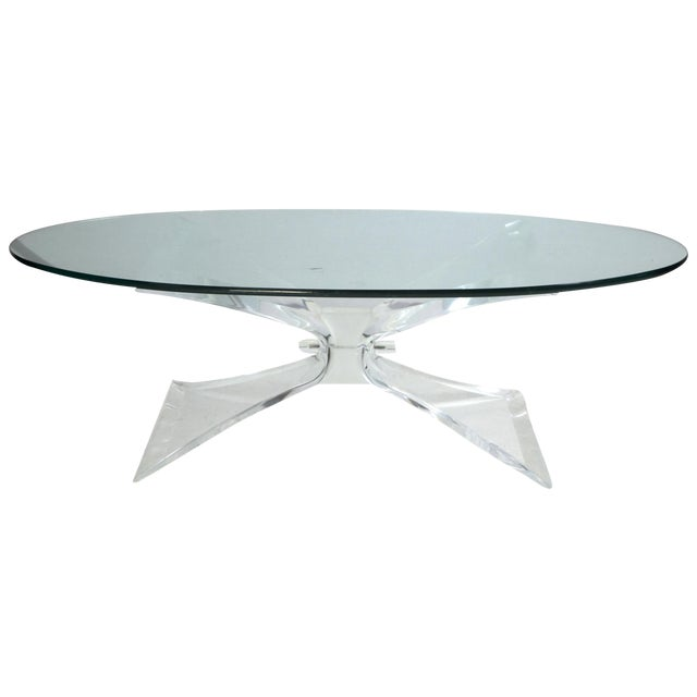 lion in frost lucite butterfly coffee table base only chairish. Black Bedroom Furniture Sets. Home Design Ideas