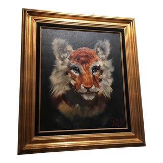 Gold Framed Tiger Cub Oil Painting