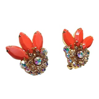 Orange Lucite & Rhinestone Earrings