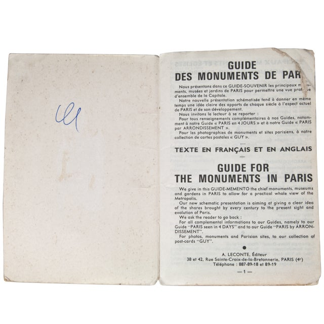 Vintage Guy Paris Monument Map - Image 4 of 6