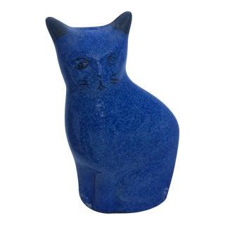 Vintage Blue Ceramic Cat