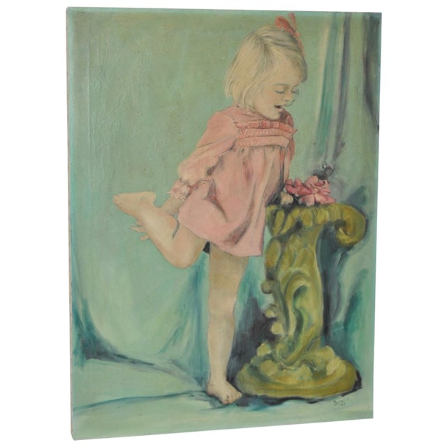 Image of Vintage Oil Portrait of a Young Girl C.1960's