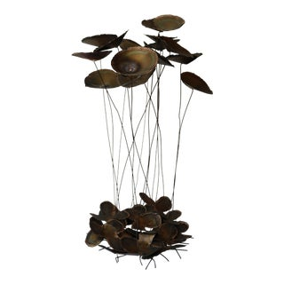 Large Jere Style Brutalist Brass Lilypad Kinetic Sculpture