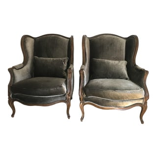 Vintage Velvet Wingback Chairs - A Pair