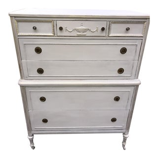 French Gray Neoclassical Antique Solid Wood Mahogany Highboy