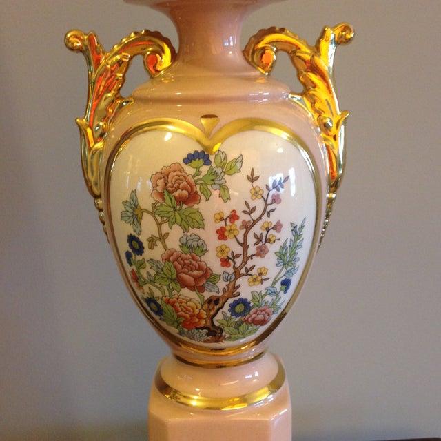Vintage Blush Colored Deena China Lamp - Image 5 of 11