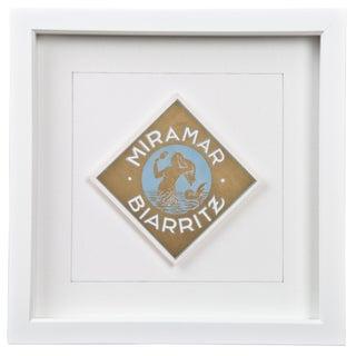 Framed French Miramar Hotel Luggage Label
