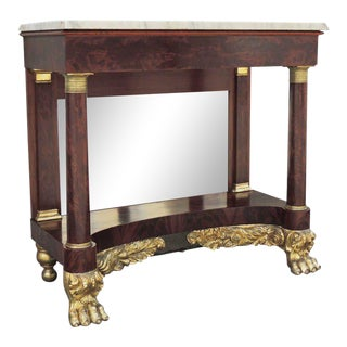 19th C New York Marble-Topped Pier Table