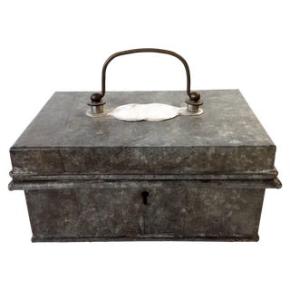 Vintage Galvanized Heavy Metal Lidded Box