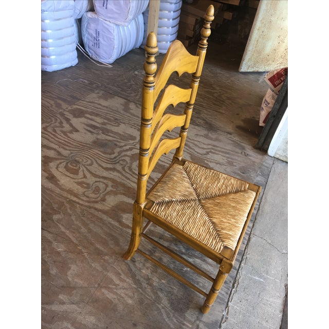 Antique Ladder Back Yellow Wood Chair - Image 4 of 10