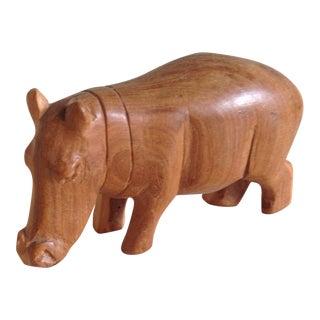 Vintage Natural Wood Carved Rhino Figure