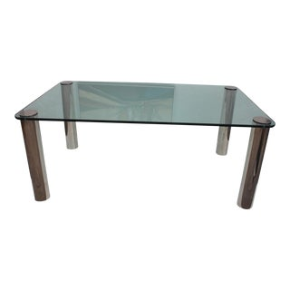 Pace Chrome Leg & Glass Top Dining Table