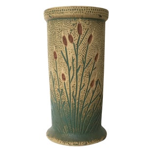 C. 1930 Vintage Red Wing Cattail Vase