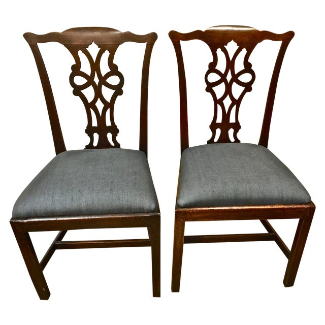 Image of Antique 18th C. Georgian Side Chairs - A Pair