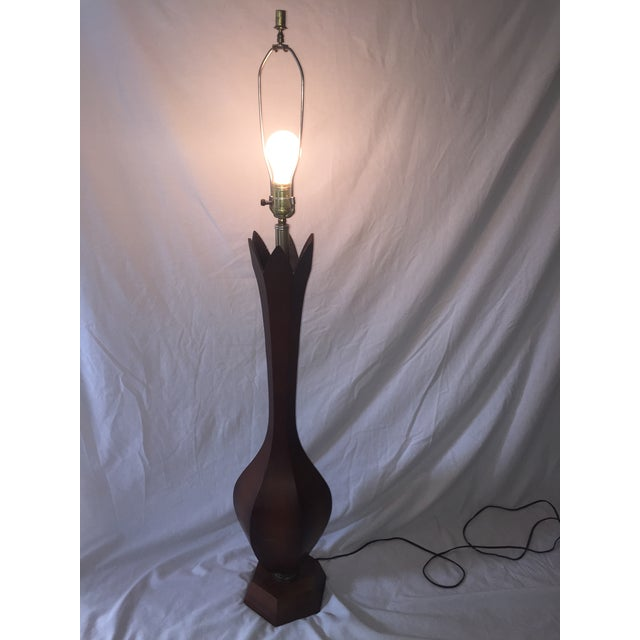 Mid-Century Carved Walnut Floor Lamp - Image 11 of 11