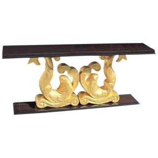 French Art Deco Macassar Ebony Giltwood Console Table by ''Etienne Kohlmann'' Circa 1930s