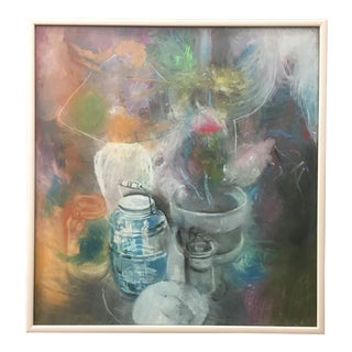 Abstract Still Life Pastel Large Framed Work 1980's