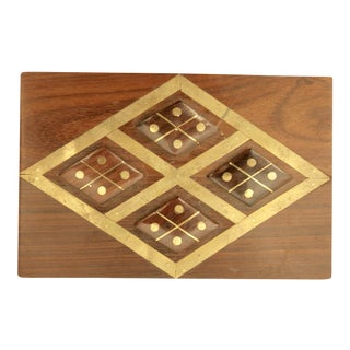Modernist Exotic Hardwood Box with Harlequin Brass Inlay