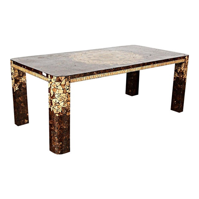 Art Deco Modern Inlaid Dining Table - Image 1 of 5