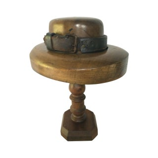 1940's Walnut & Leather Hat Mold