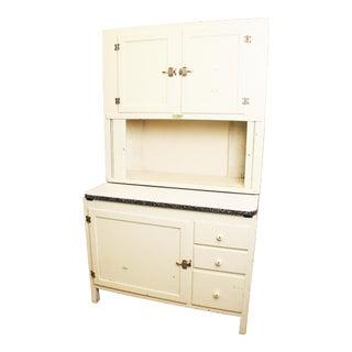 Hoosier Vintage White 2 Piece Wood Kitchen Cabinet