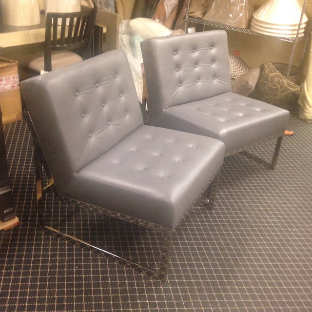 Leather & Chrome Accent Chairs - A Pair - Image 3 of 7