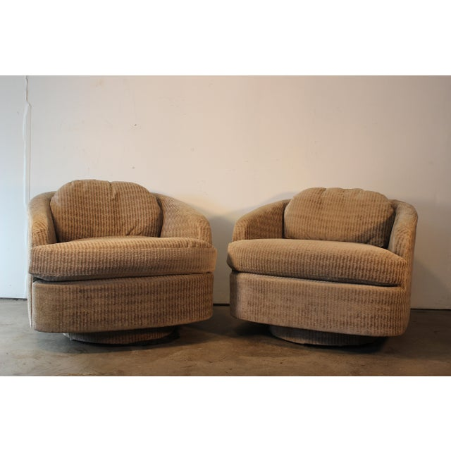 Milo Baughman for Thayer Coggin Swivel Lounge Chairs- A Pair - Image 3 of 11