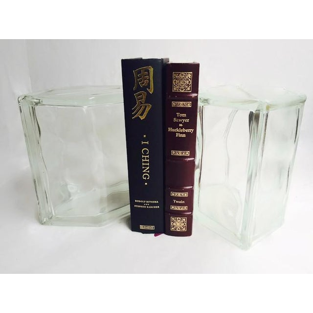Vintage Glass Block Geometric Bookends - A Pair - Image 3 of 8