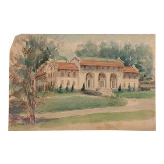 Original Vintage Watercolor Painting of a Fine Estate