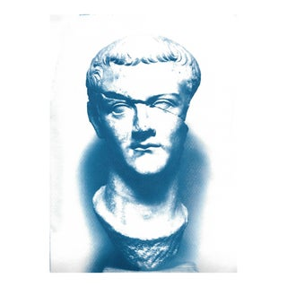 Limited Edition: Caligula Roman Sculpture, Cyanoptype on Watercolor Paper