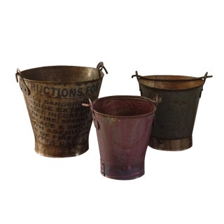 Stenciled Metal Pails - Set of 3