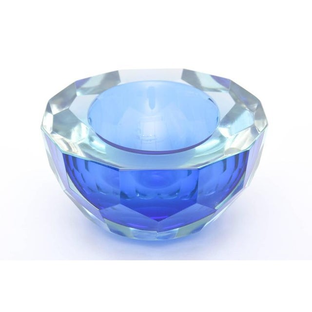 Italian Murano Sommerso Diamond Faceted Flat Cut Polished Glass Geode Bowl - Image 5 of 9
