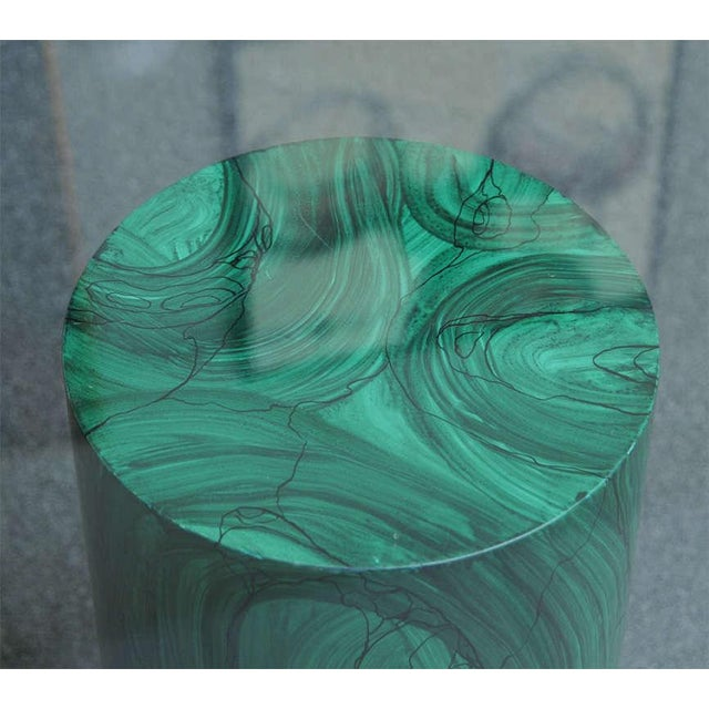 Sleek Modern Classic Malachite Column Side Table - Image 5 of 8