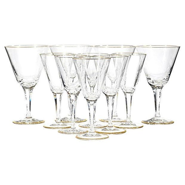 Image of 1950s Gilt-Rimmed Glass Stems - Set of 8