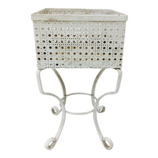 Victorian White Cane Metal Planter Stand