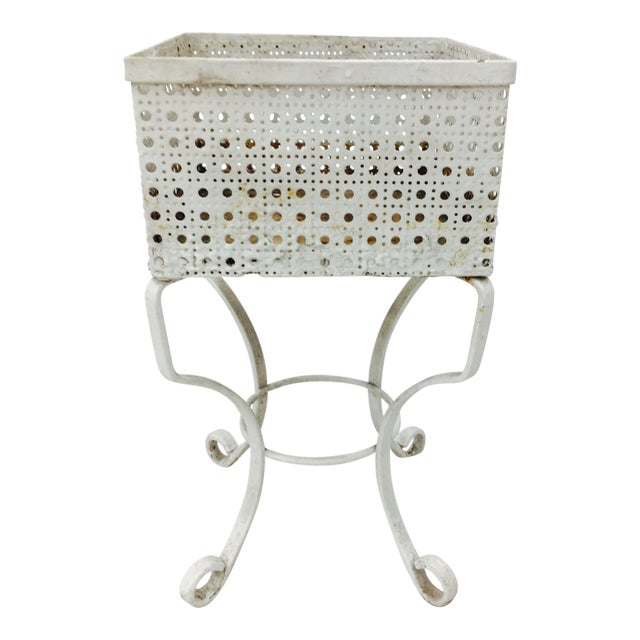 Victorian White Cane Metal Planter Stand - Image 1 of 5