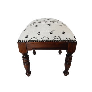 Square Tribal Mud Cloth Wood Stool