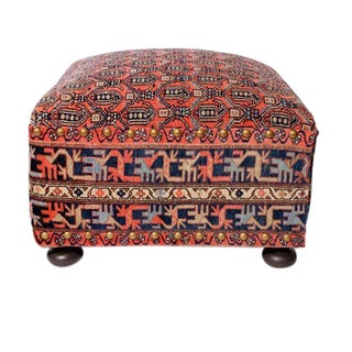 Oriental Rug Covered Ottoman, Hassock or Footstool