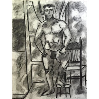 1950's Charcoal Standing Male Nude Study Henry Woon