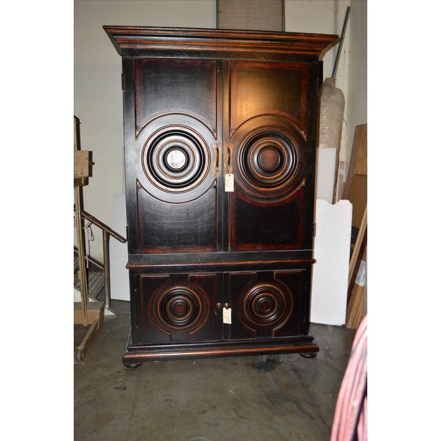 Vintage Circle Motif Wood Armoire - Image 5 of 7