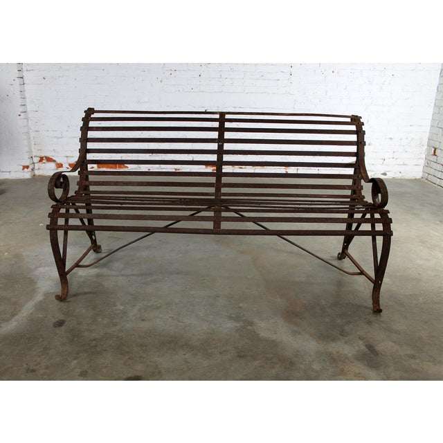 Antique 19th Century Forged Strap Iron Garden Bench - Image 3 of 10