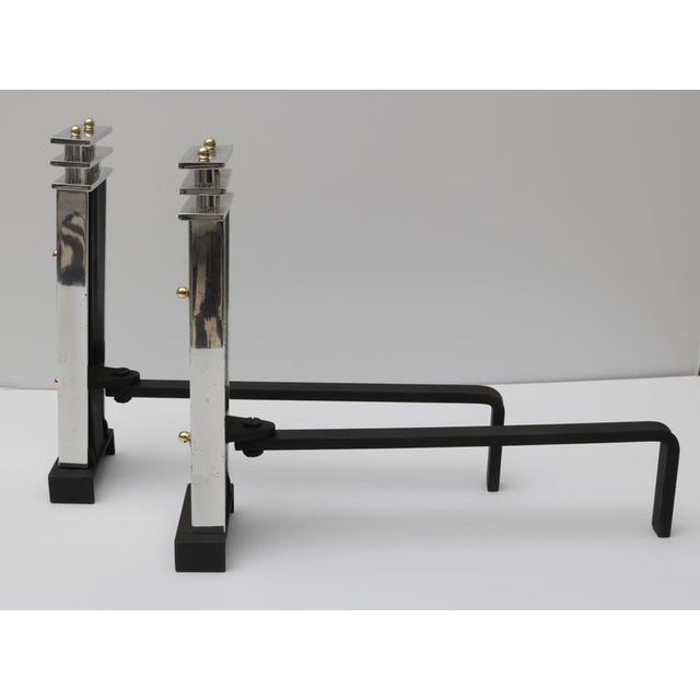 Image of Art Deco Aluminum and Brass Andirons - A Pair