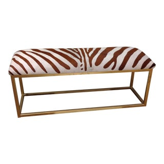 Painted Zebra Hair-On-Hide Gold Iron Bench