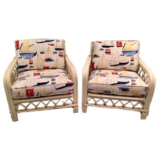Ficks Reed Mid-Century Rattan Chairs - a Pair