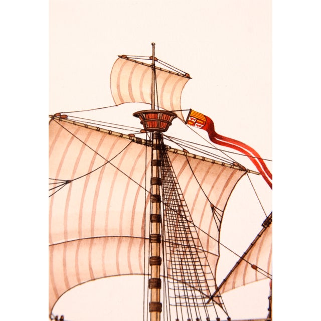 Santa Maria Ship Watercolor - Image 3 of 3